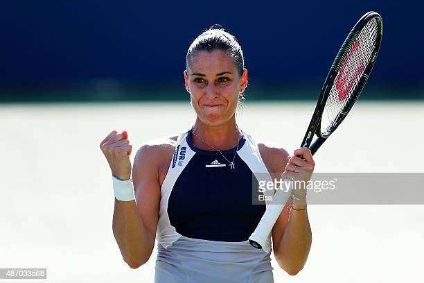 Flavia Pennetta of Italy celebrates after defeating Petra Cetkovska of the Czech Republic during their Women's Singles Third Round match Victoria...