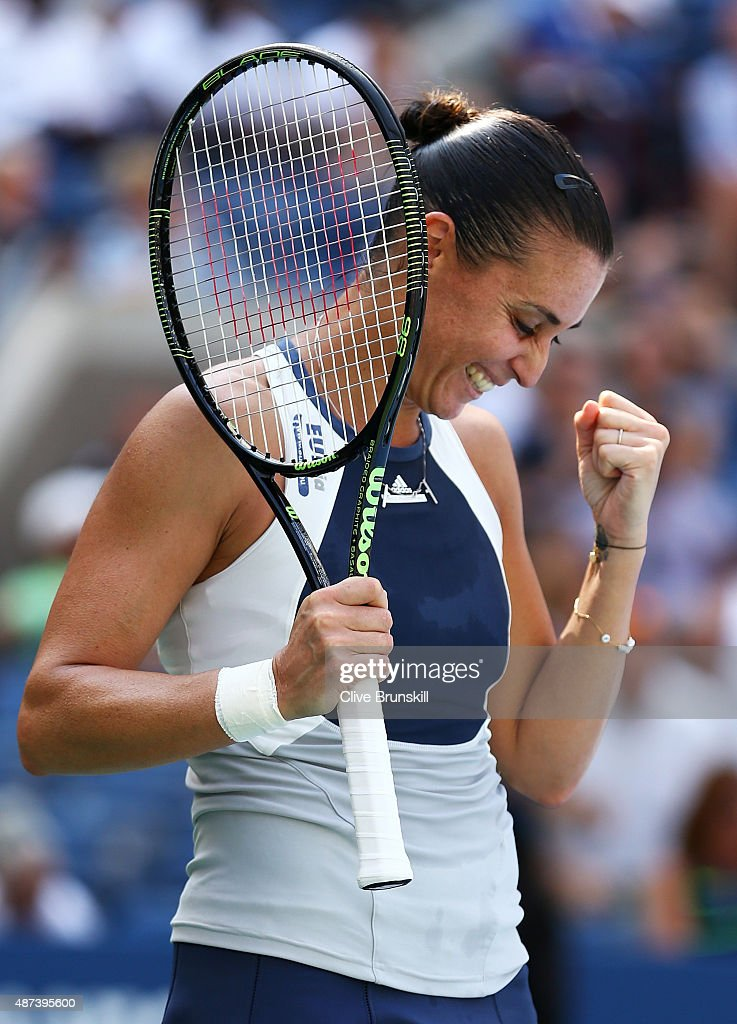 <a gi-track='captionPersonalityLinkClicked' href=/galleries/search?phrase=Flavia+Pennetta&family=editorial&specificpeople=220518 ng-click='$event.stopPropagation()'>Flavia Pennetta</a> of Italy celebrates after defeating Petra Kvitova of Czech Republic during their Women's Singles Quarterfinals match on Day Ten of the 2015 US Open at the USTA Billie Jean King National Tennis Center on September 9, 2015 in the Flushing neighborhood of the Queens borough of New York City.