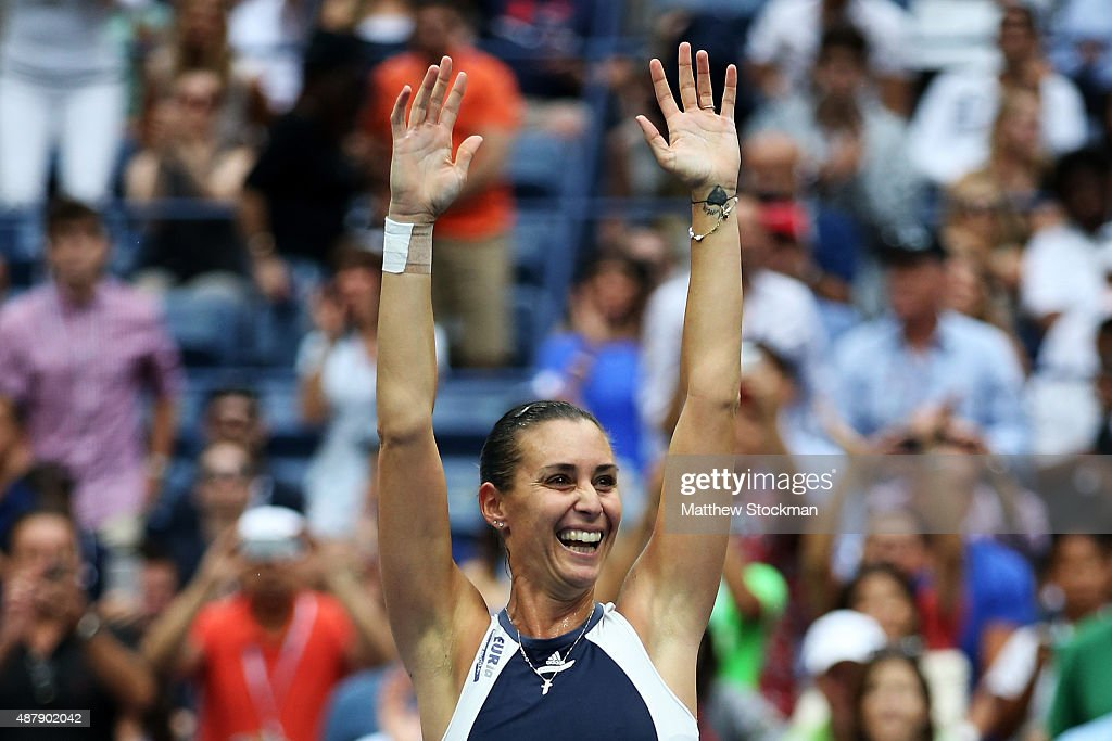 <a gi-track='captionPersonalityLinkClicked' href=/galleries/search?phrase=Flavia+Pennetta&family=editorial&specificpeople=220518 ng-click='$event.stopPropagation()'>Flavia Pennetta</a> of Italy celebrates after defeating Roberta Vinci of Italy during their Women's Singles Final match on Day Thirteen of the 2015 US Open at the USTA Billie Jean King National Tennis Center on September 12, 2015 in the Flushing neighborhood of the Queens borough of New York City. Pennetta defeated Vinci 7-6, 6-2.