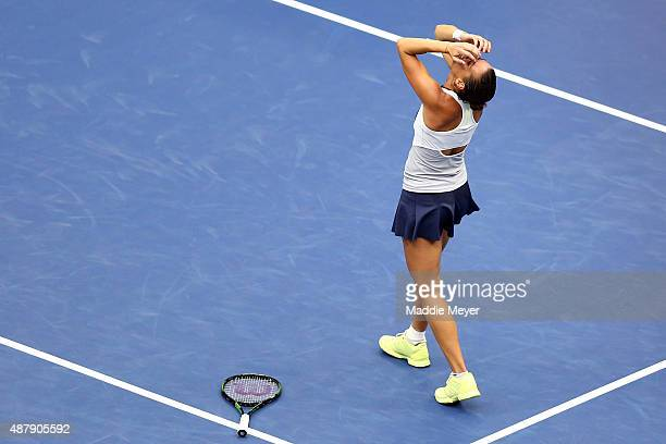 Flavia Pennetta of Italy celebrates after defeating Roberta Vinci of Italy during their Women's Singles Final match on Day Thirteen of the 2015 US...