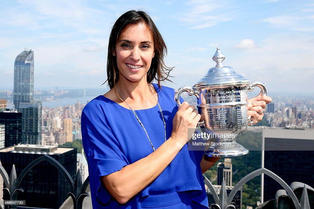 <a gi-track='captionPersonalityLinkClicked' href=/galleries/search?phrase=Flavia+Pennetta&family=editorial&specificpeople=220518 ng-click='$event.stopPropagation()'>Flavia Pennetta</a> of Italy, the 2015 US Open Women's Singles champion, poses with the winner's trophy at the Top of the Rock Observation Deck at Rockefeller Center on Day Fourteen of the 2015 US Open on September 13, 2015 in New York City.