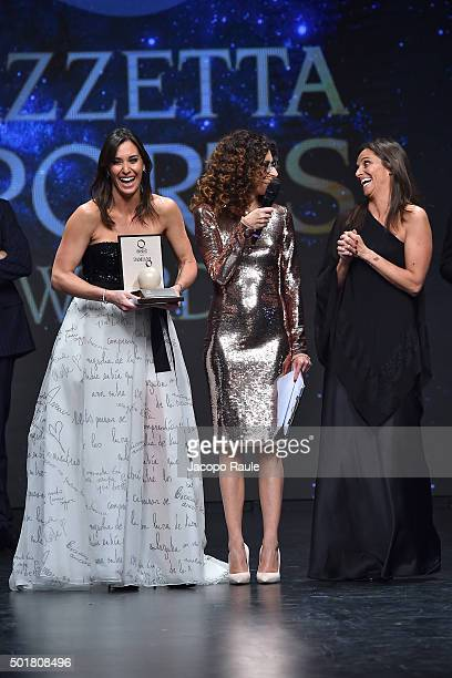 Flavia Pennetta Teresa Mannino and Roberta Vinci attend the 'Gazzetta Awards' on December 17 2015 in Milan Italy