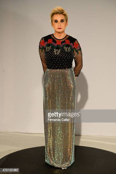 Flavia Sahyoun walks at Fause Haten Presentation at SPFW Summer 2016 at FH Show Room on April 17 2015 in Sao Paulo Brazil