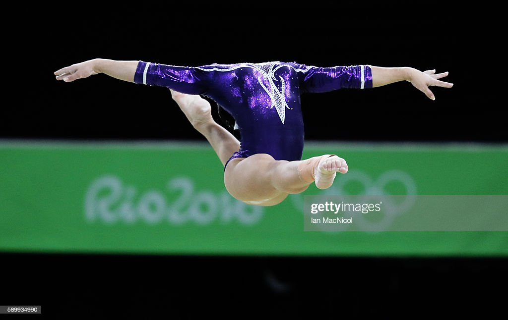 Flavia Saraiva of Brasil performs in the Final of The Beam at Rio Olympic Arena on August 15, 2016 in Rio de Janeiro, Brazil.