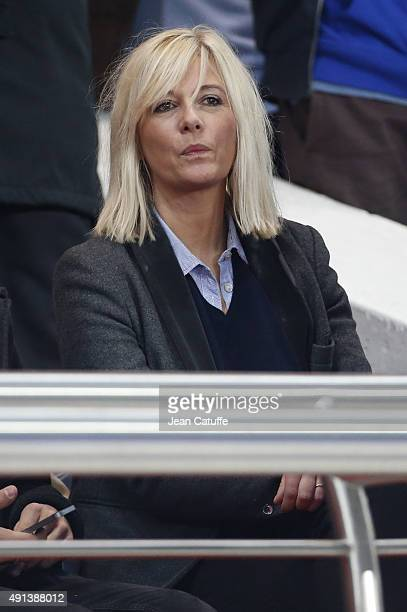 Flavie Flament attends the French Ligue 1 match between Paris SaintGermain FC and Olympique de Marseille at Parc des Princes stadium on October 4...