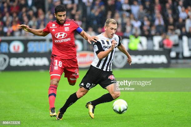 Flavien Tait of Angers and Nabil Fekir of Lyon during the Ligue 1 match between Angers SCO and Olympique Lyonnais at Stade Raymond Kopa on October 1...