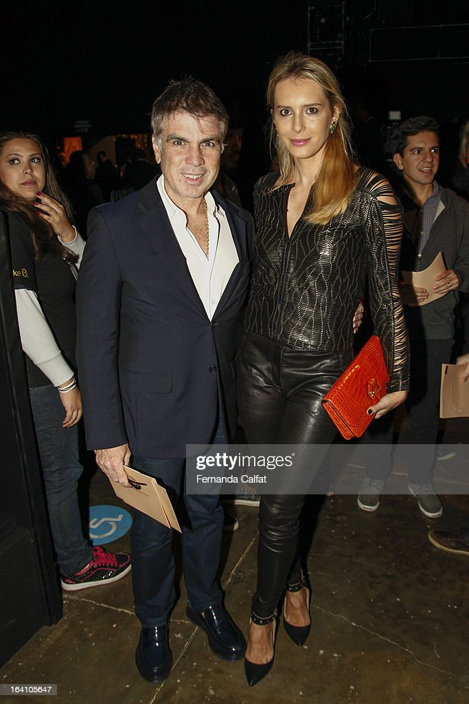 Flavio and Ana Claudia Rocha attends the Ellus show during Sao Paulo Fashion Week Summer 2013/2014 on March 19, 2013 in Sao Paulo, Brazil.