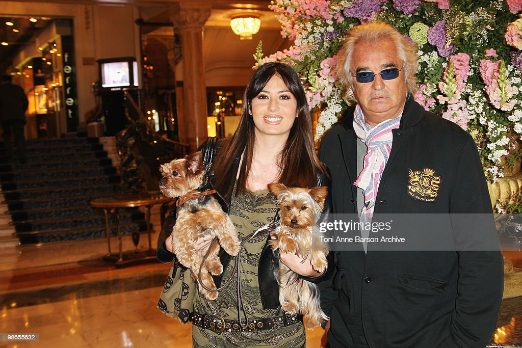 <a gi-track='captionPersonalityLinkClicked' href=/galleries/search?phrase=Flavio+Briatore&family=editorial&specificpeople=220211 ng-click='$event.stopPropagation()'>Flavio Briatore</a> (R) and <a gi-track='captionPersonalityLinkClicked' href=/galleries/search?phrase=Elisabetta+Gregoraci&family=editorial&specificpeople=606805 ng-click='$event.stopPropagation()'>Elisabetta Gregoraci</a> and her dogs Sightings at Hotel de Paris on April 24, 2010 in Monte-Carlo, Monaco.