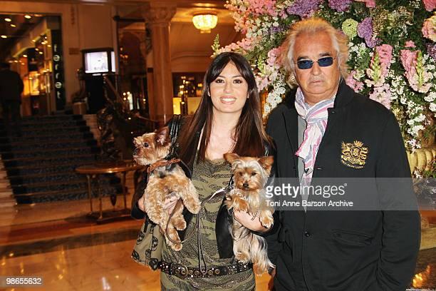 Flavio Briatore and Elisabetta Gregoraci and her dogs Sightings at Hotel de Paris on April 24 2010 in MonteCarlo Monaco
