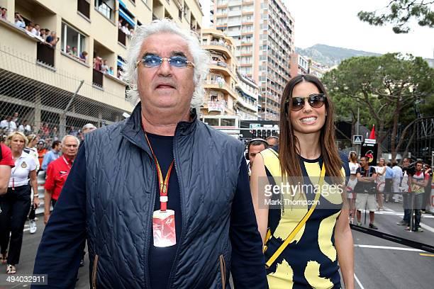 Flavio Briatore and his wife Elisabetta Gregoraci attend the Monaco Formula One Grand Prix at Circuit de Monaco on May 25 2014 in MonteCarlo Monaco