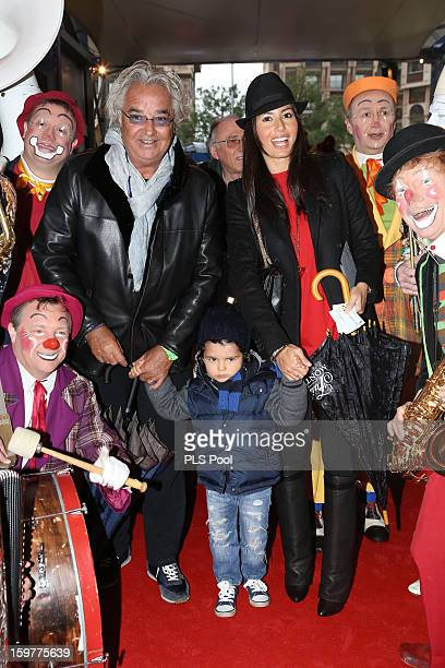 Flavio Briatore his son Nathan Falco and his wife Elisabetta Gregoraci attend the MonteCarlo 37th International Circus Festival on January 20 2013 in...