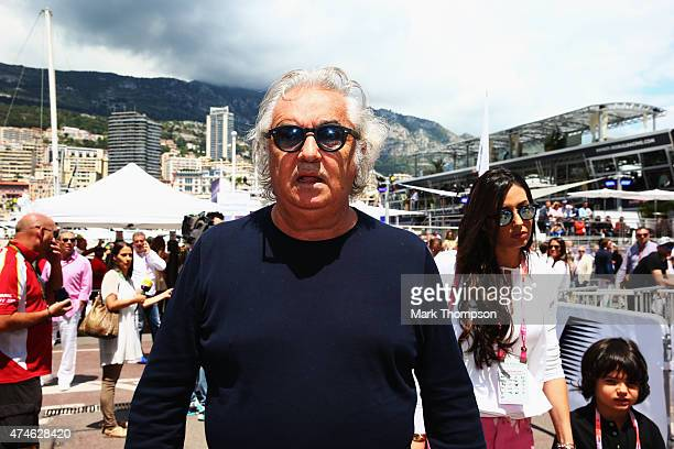 Flavio Briatore his wife Elisabetta Gregoraci and their son Falco Nathan attend the Monaco Formula One Grand Prix at Circuit de Monaco on May 24 2015...