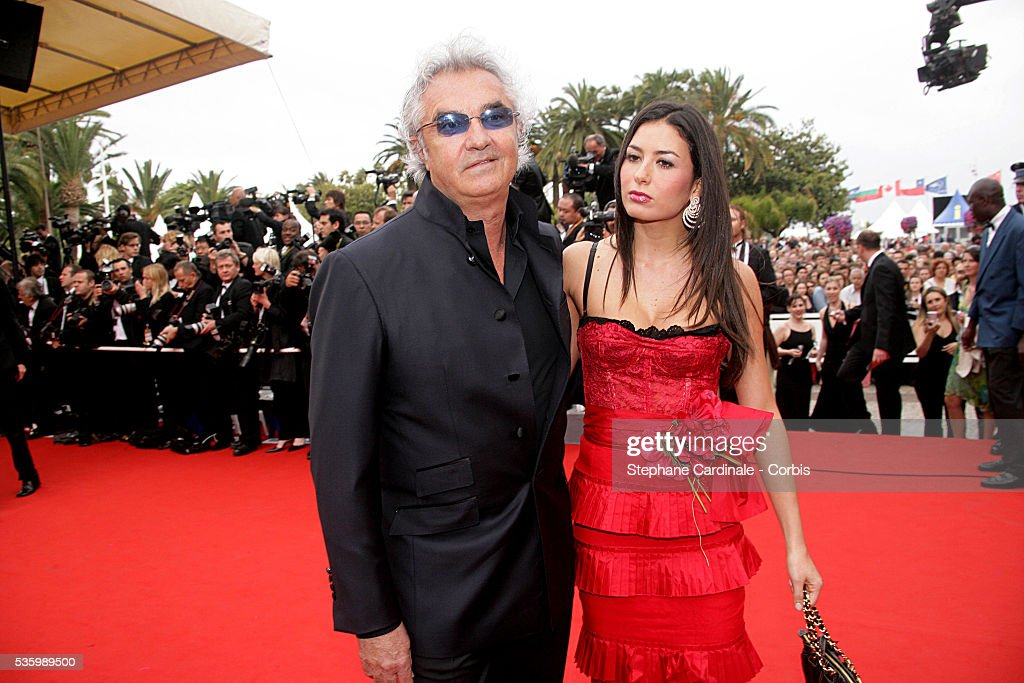 Flavio Briatore with Elisabetta Gregoraci at the premiere of 'Babel' during the 59th Cannes Film Festival.