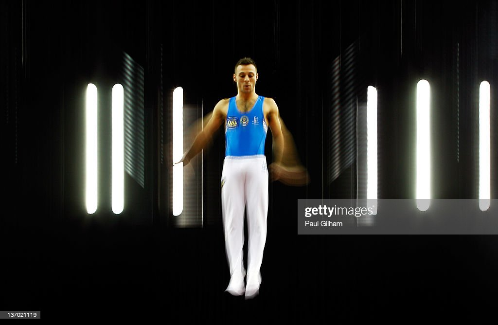 Flavio Cannone of Italy in action during the Gymnastics Trampoline Olympic Qualification round at North Greenwich Arena on January 13, 2012 in London, England.