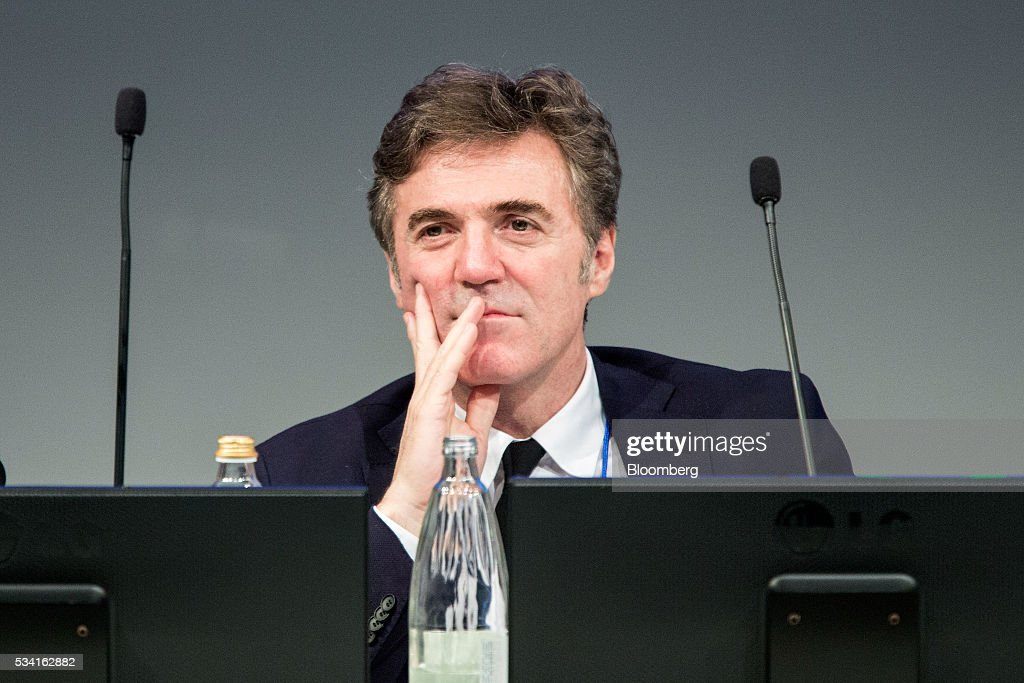 Flavio Cattaneo, chief executive officer of Telecom Italia SpA, looks on during the company's annual general meeting (AGM) at their headquarters in Rozzano, near Milan, Italy, on Wednesday May 25, 2016. Telecom Italia named Cattaneo as CEO in March, turning to a media industry veteran to implement a turnaround. Photographer: Alessia Pierdomenico/Bloomberg via Getty Images
