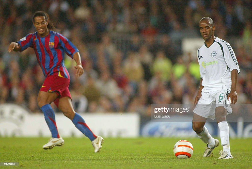 Flavio Conciencao of Panathinaikos and Ronaldinho of FC Barcelona in action during the UEFA Champions League group C match between FC Barcelona and Panathinaikos at the Camp Nou stadium on November 2, 2005 in in Barcelona, Spain.