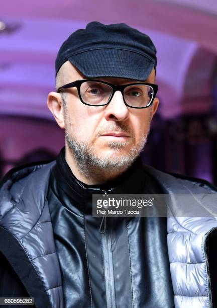 Flavio Favelli poses during Miart 2017 'Senso 80' Exhibition at Albergo Diurno in Milan on March 29 2017 in Milan Italy
