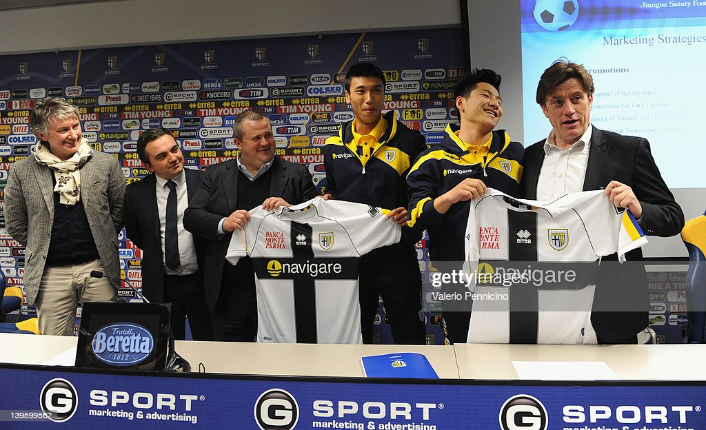 Flavio Modena Alessandro Giacomini Tommaso Ghirardi Cheng Qu XiaoTian Yang and Marco Marchi during a press conference to officially annouce the...