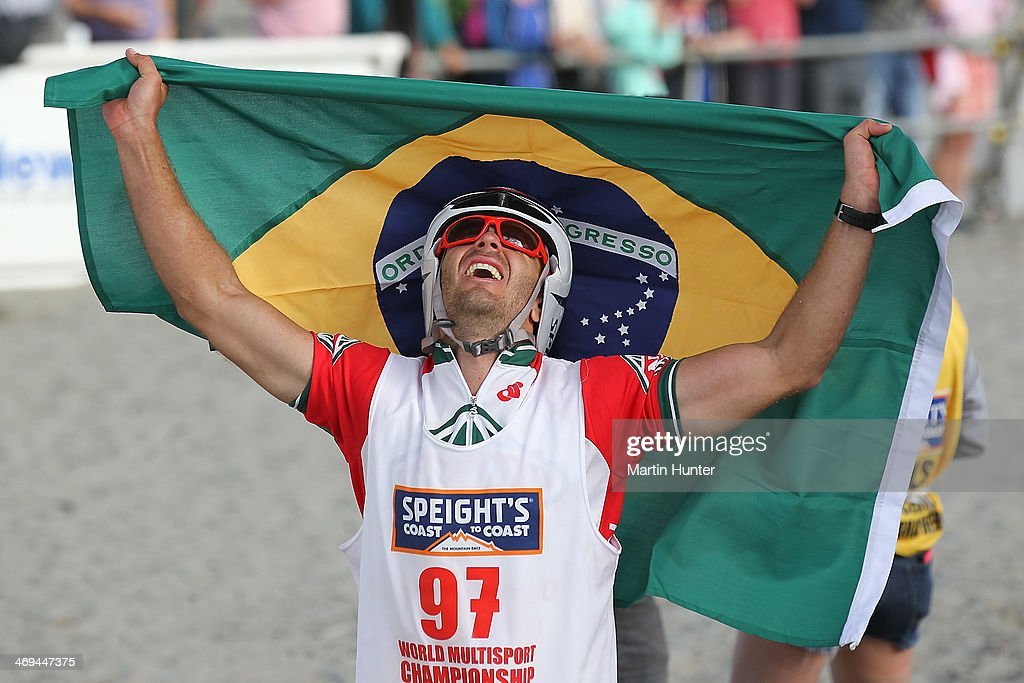 Flavio Vianna of Brazil celebrates finishing the one day individual event during the Speights Coast to Coast on February 15, 2014 in Christchurch, New Zealand.