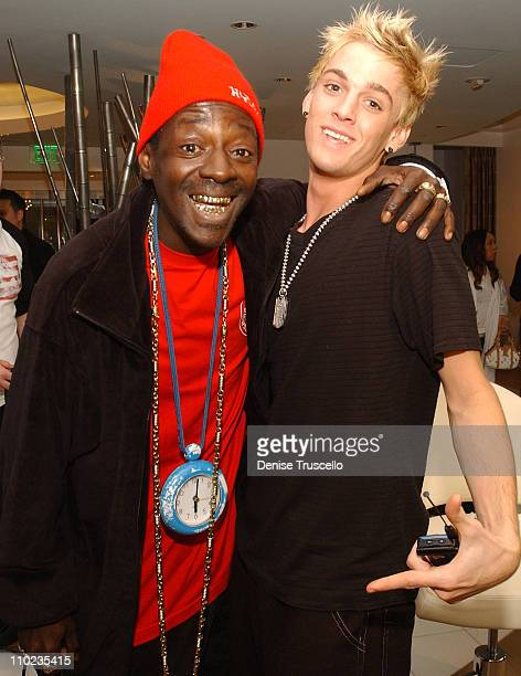 Flavor Flav and Aaron Carter during Maxim/Remington VIP Styling Suite at Christophe Salon at Cristophe Salon at The MGM Hotel and Casino Resort in...