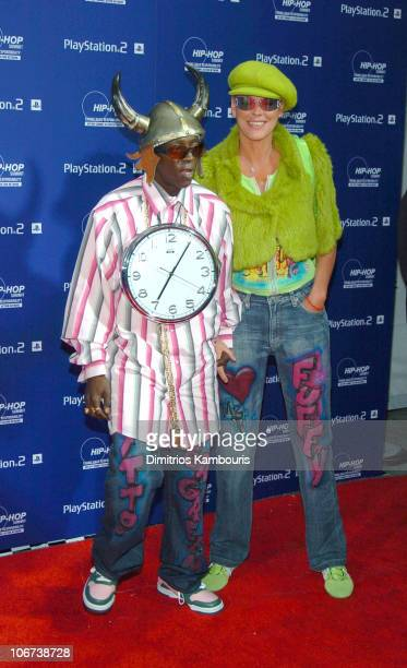 Flavor Flav and Brigitte Nielsen during Sony Playstation 2 Teams with Russell Simmons and the HipHop Summit Action Network to 'Race to the Polls'...
