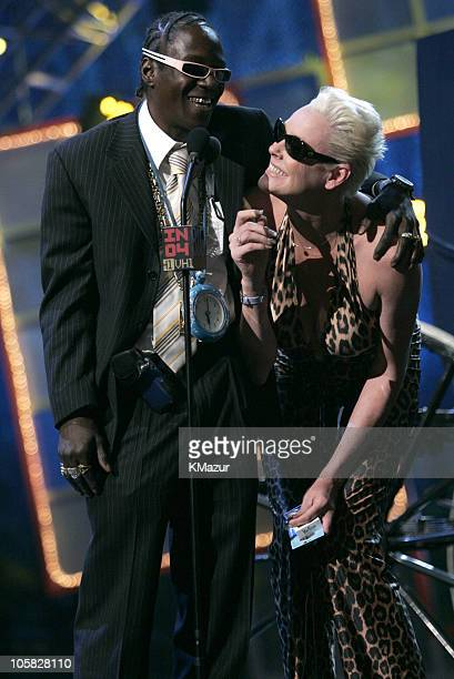 Flavor Flav and Brigitte Nielsen during VH1 Big in '04 Rehearsals Day Two at Shrine Auditorium in Los Angeles California United States