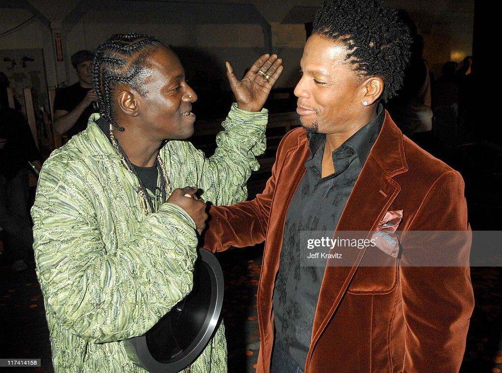 Flavor Flav and DL Hughley during VH1 Big in '06 Backstage and Audience at Sony Studios in Culver City California United States