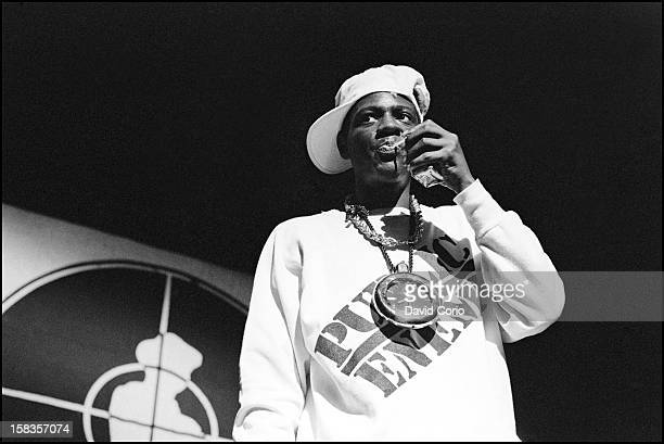 Flavor Flav of Public Enemy performs on stage at Hammersmith Odeon London 2nd November 1987