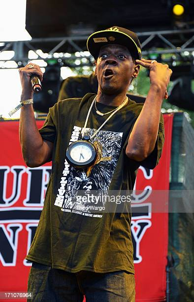 Flavor Flav of Public Enemy performs onstage at the Firefly Music Festival at The Woodlands of Dover International Speedway on June 21 2013 in Dover...