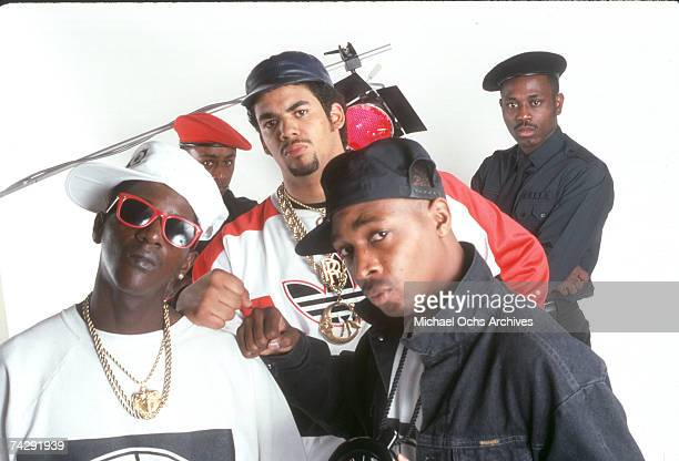 Flavor Flav Professor Griff Terminator X S1W and Chuck D of the rap group Public Enemy pose for a portrait in a studio