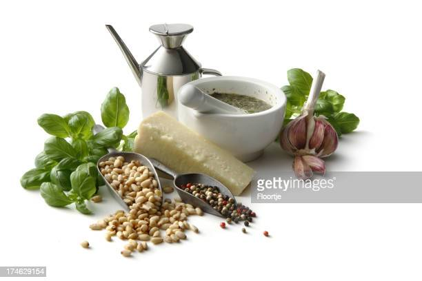 Flavouring: Pesto and Ingredients Isolated on White Background