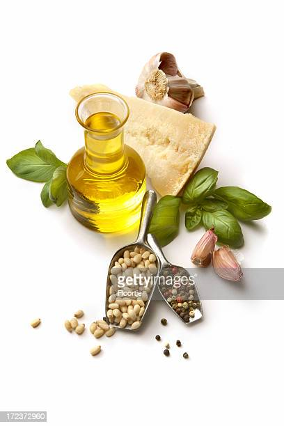 Flavouring: Pesto Ingredients Isolated on White Background