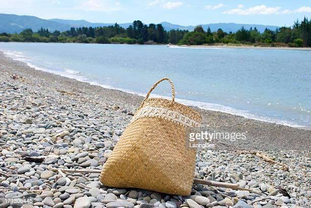 Flax Kete on Beach