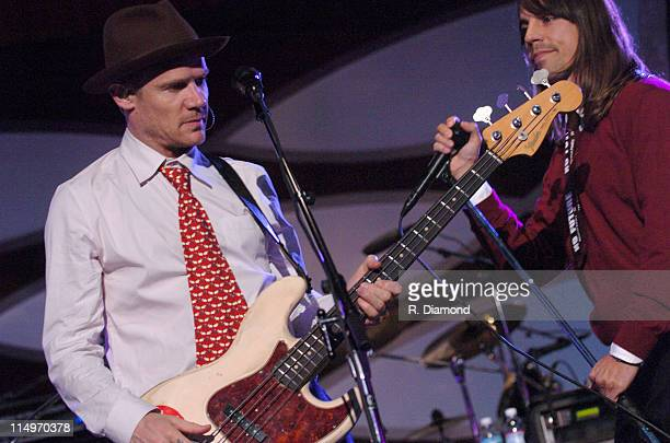 Flea and Anthony Kiedis of Red Hot Chili Peppers during 2005 MusiCares Person of the Year Brian Wilson Show at Palladium in Hollywood California...