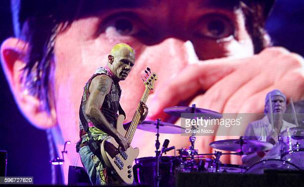 Flea and Chad Smith of Red Hot Chili Peppers perform on Day 2 of Reading Festival at Richfield Avenue on August 27 2016 in Reading England