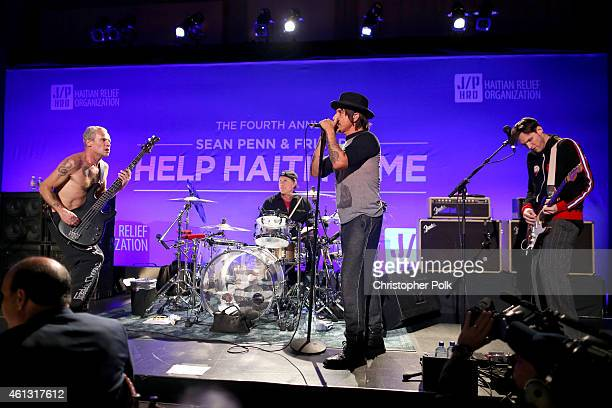 Flea Anthony Kiedis Chad Smith and Josh Klinghoffer of the Red Hot Chili Peppers perform onstage at the 4th Annual Sean Penn Friends HELP HAITI HOME...
