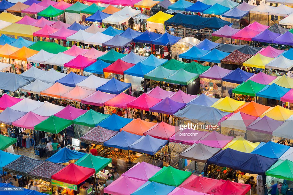 Flea market multiple roof top in Bangkok Thailand : Stock Photo