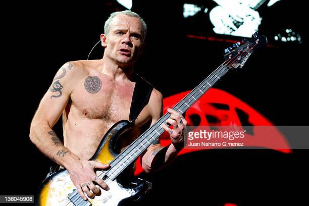 Flea of Red Hot Chili Peppers performs at Palacio de los Deportes on December 17 2011 in Madrid Spain