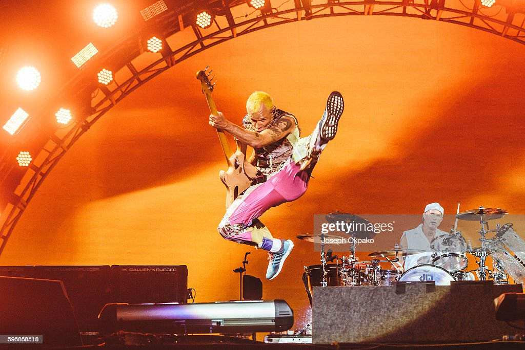 Flea of Red Hot Chili Peppers performs on stage on Day 2 at Reading Festival 2016 on August 27, 2016 in Reading, England.