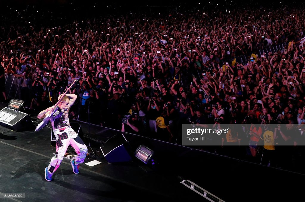 Flea of Red Hot Chili Peppers performs onstage during Day 3 at The Meadows Music & Arts Festival at Citi Field on September 17, 2017 in New York City.