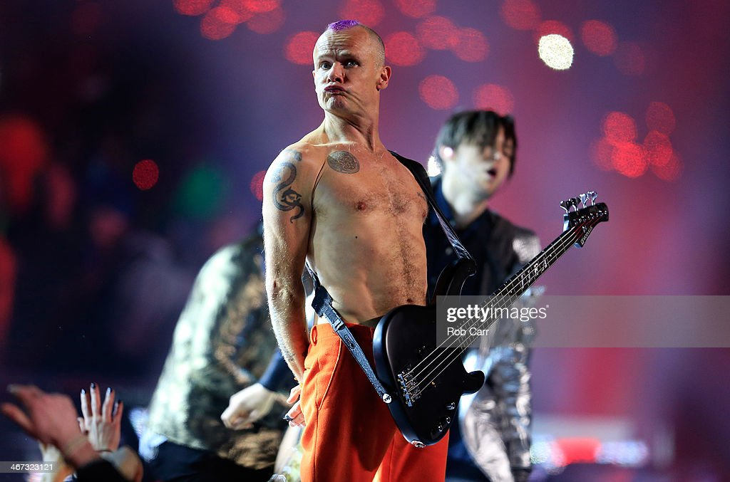 <a gi-track='captionPersonalityLinkClicked' href=/galleries/search?phrase=Flea+-+Musician&family=editorial&specificpeople=213900 ng-click='$event.stopPropagation()'>Flea</a> of the Red Hot Chili Peppers performs during the Pepsi Super Bowl XLVIII Halftime Show at MetLife Stadium on February 2, 2014 in East Rutherford, New Jersey.