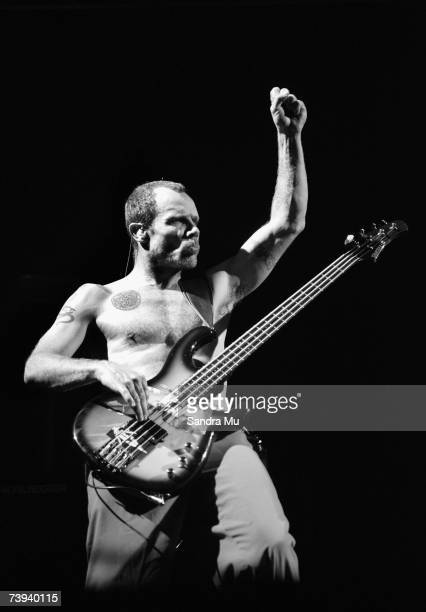 Flea of the Red Hot Chili Peppers performs on stage on the first night of the New Zealand leg of their tour at the Vector Arena on April 21 2007 in...
