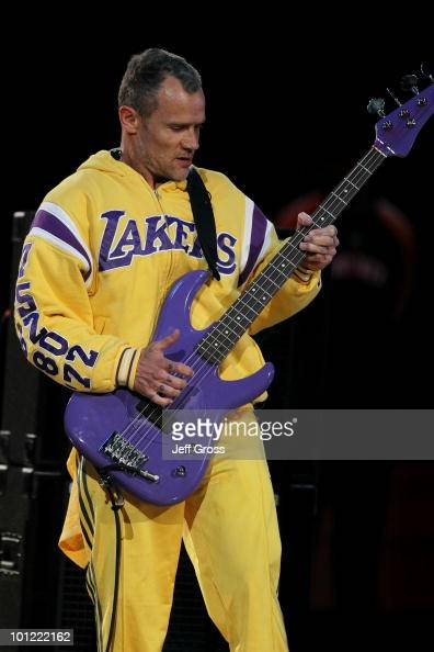 Flea of the Red Hot Chili Peppers performs the national anthem prior to Game Five of the Western Conference Finals between the Phoenix Suns and the...