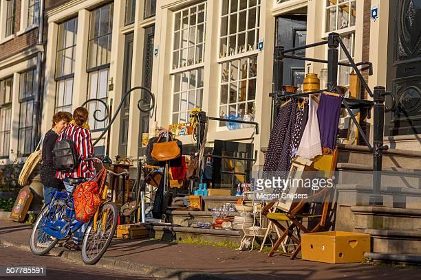 Fleamarket outside Amsterdam canal house