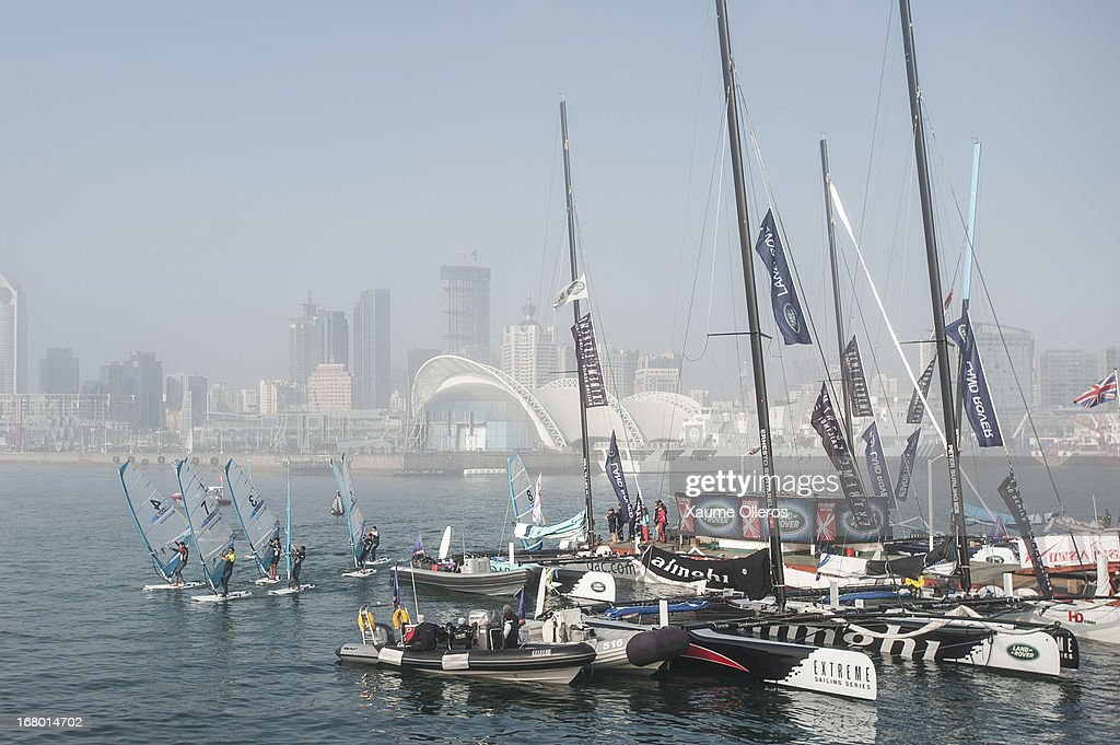 Fleet is still stopped on the dock waiting for the fog to disappear prior to day three of the Extreme Sailing Series on May 4, 2013 in Qingdao, China.