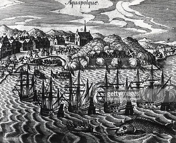 Fleet of galleons in Acapulco Port Mexico engraving from Peregrinationes by Theodor de Bry Central America 16th century