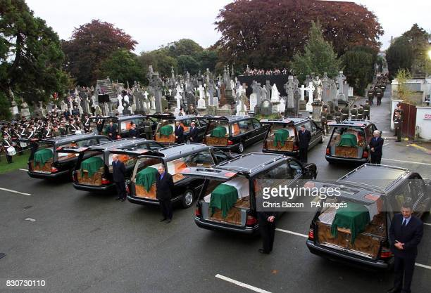 A fleet of hearses carrying the coffins of ten War of Independence Volunteers arrive at Glasnevin Cemetry Dublin The ten men were executed more than...