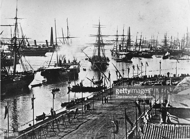 A fleet of ships entering the Suez Canal at its inauguration 17th November 1869
