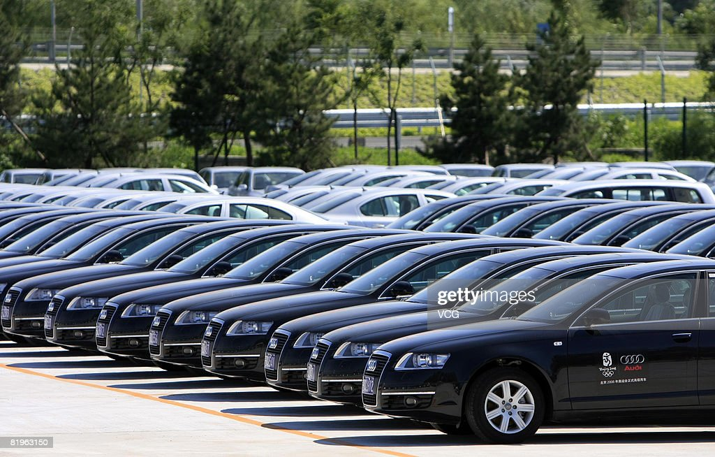 A fleet of vehicles tailor-made for the Beijing Games are readied on July 16, 2008 in Beijing, China. All the 5,000 Olympic official vehicles dedicated to the reception and transportation of athletes and guests during the Olympics have been transferred to the Beijing Organizing Committee for the Games of the XXIX Olympiad.