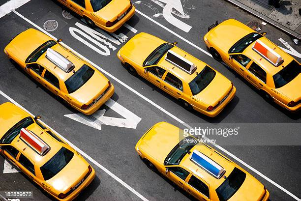 Fleet of Yellow New York City Taxi Cabs from Above